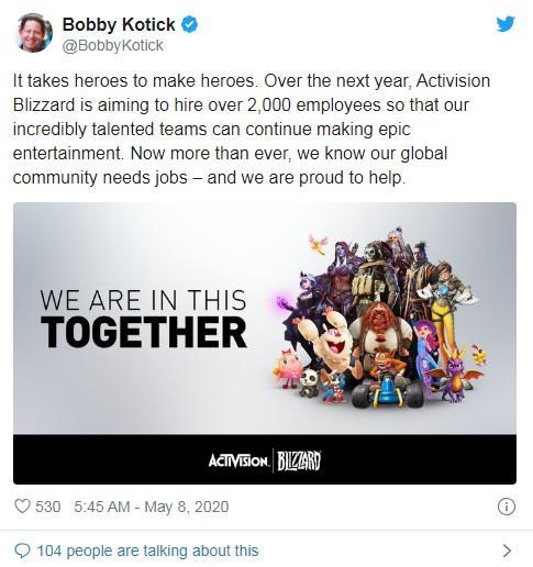 动视暴雪预计明年扩招2000名额,员工总数将超1.1万,致力打造史诗级娱乐开发
